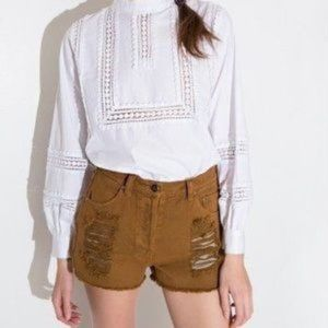 MINKPINK Slasher Shorts High Waist Khaki Tan M
